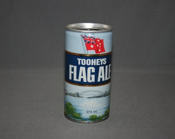 Vintage Tooheys Flag Ale Beer Steel Can Pull Tab Opened & Empty Collectible Bar Memorabilia Barware Advertisement Breweriana