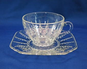 Vintage Teacup and Saucer Federal Glass Columbia circa 1940 Columbia Clear Pattern Tea Cup Tea Party Coffee Cup and plate
