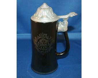 Vintage Princess House Beer Stein  Black Glass VIP Stein with Embossed Pewter Lid Poem Beer Stein Barware Breweriana Collectible Bar