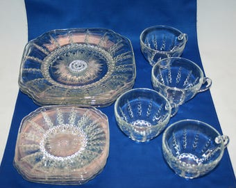 Vintage Teacup Luncheon Set Federal Glass Columbia Clear Pattern 12 piece circa 1935 Plate Tea Cup and Saucer, Coffee Cup, service for 4