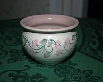 Vintage Pottery Bowl Dezeinway Stoneware Hand Made Hand Painted by Linda M. Johnson New Hampshire Artist Flower Pot Garden Planter