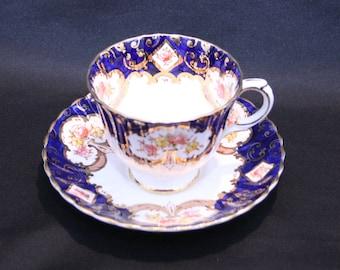 Vintage Teacup and Saucer Royal Stafford Heritage Bone China Cobalt Blue & White Tea Cup Coffee