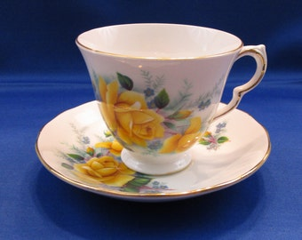 Vintage Queen Anne Bone China Tea Cup and Saucer Yellow Roses Pattern C178 Ridgway Potteries Made in England English Tea Party