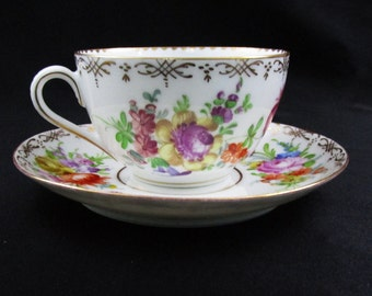 Antique Dresden Saxony Teacup & Saucer Hand Painted Tea Cup Floral Spray and Gold Gild Germany Afternoon Tea Party Coffee Vintage