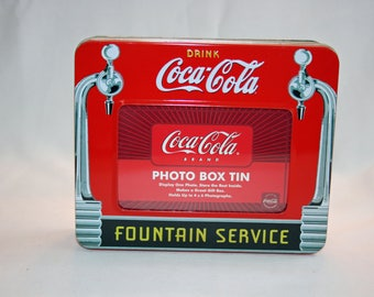 Vintage Coca-Cola Photo Box Tin Fountain Service Collector's Tin - Coca Cola Collectible Coke Memorabilia Ephemera Storage Box Tin