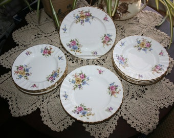 Vintage Royal Worcester Roanoke Bread and Butter Plate Fine Bone China Dessert Plate Salad Plate Made in England 1960's Set of 12 Plates