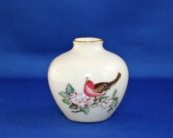 Vintage Lenox China Serenade Bud Vase 24kt Gold circa 1984-97 USA Hand Painted Accents Flower Miniature Bird Mini Vase Knick Knack