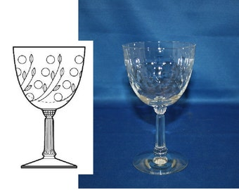Vintage Spinet Wine Glass by Fostoria Glass Co circa 1950s Water Goblet white wine glass cut pattern 821 Bar Barware Breweriana