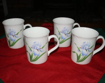 Vintage Japanese Octagiri Iris Embossed Coffee Mug Tea Cup set of 4 made in Japan Tableware Teacup