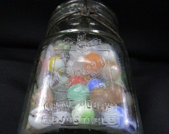Antique SKO Wide Mouth Queen Pint Mason Jar with Assorted Vintage Marbles Handmade Marble different sizes multiple and deceptive colors