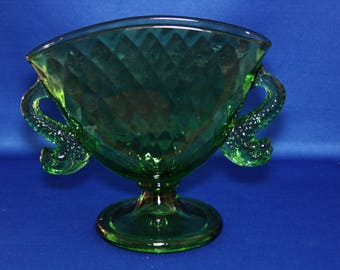 Vintage Fenton Green Art Glass Fan Vase Fish Handles Dolphin, Koi Handles 1920's Pedestal Flower Vase Fenton Glass Co Pillow Cushion