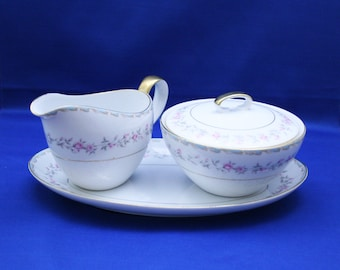 Vintage Mikasa Creamer and Sugar Bowl Set with an Under Plate Vincente pattern 6129 Coffee Tea Garden Party