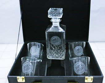 Vintage Dave and Busters 5 piece Decanter Gift Set 4 Matching Glasses Leather Briefcase Storage Box Acid Etched Logo Whiskey Brandy Bourbon