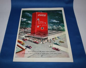Vintage Coca Cola 1949 Magazine Advertisement Shop Refreshed Ice Cold Coke Super Market Coke Ephemera Memorabilia Old Crow Whiskey