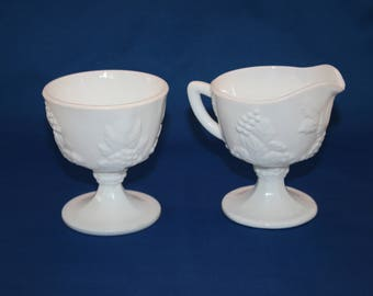 Vintage Pedestal Creamer and Open Sugar Bowl Colony Harvest Set sold by Indiana Glass footed Milk Pitcher & Sugar Bowl Milk Glass Coffee Tea