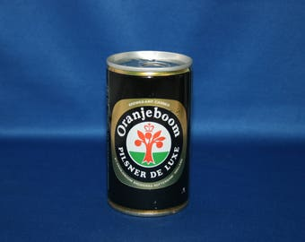 Vintage Oranjeboom PILSNER DE LUXE Steel Beer Can Pull Tab Unopened Rotterdam Holland Barware Memorabilia Bar Collectible Advertisement