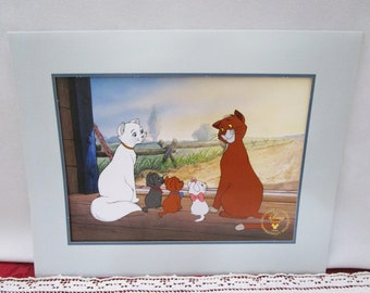 Vintage Disney Aristocats  Commemorative Lithograph, Disney Store Exclusive, 1996, Made in the USA Duchess O'Malley Marie Toulouse Berlioz