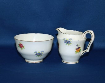 Vintage Crown Staffordshire Rose Pansy Open Sugar Bowl and Creamer Set c.1930 to 1956 Coffee & Tea English Tea Garden Party