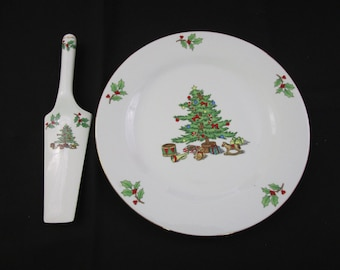 Vintage Holiday Hostess 2-piece Christmas Cake Plate and Server Set Boxed by Tienshan Christmas Tree serving set hostess gift HH412 Pie