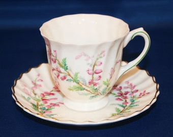 Vintage Royal Doulton Bell Heather Teacup and Saucer Tea Cup made in England 1941 Bone Fine China English Tea Party