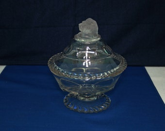 Antique EAPG Gillinder & Sons Frosted Lion Lidded Compote Dish circa 1876 Made in the USA Lion's Head Candy Jar Compote Bowl Collectible