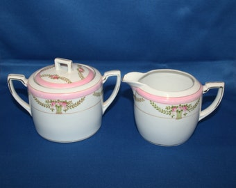 Antique Morimura Brothers Noritake Creamer & Sugar Bowl White with beautiful Pink Flower Bouquet Pink Bands Gold Gilding 1910's Coffee Tea