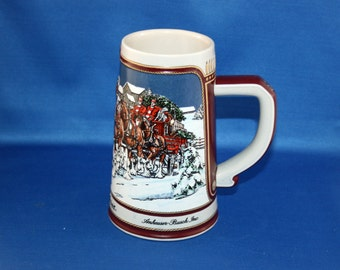 Vintage 1989 Budweiser Limited Edition Winter's Evening Beer Stein Holiday Tankard Brazil Bar Collectible Barware Memorabilia Breweriana