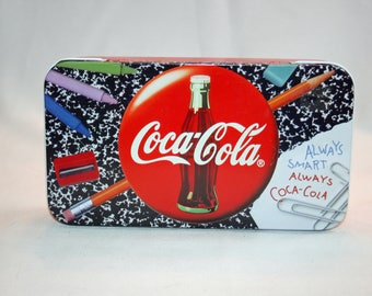 Vintage Coca-Cola Always Smart Always Coca Cola Pencil Case Box Collector's Tin Coca Cola Collectible Coke Memorabilia Trinket Box 1993