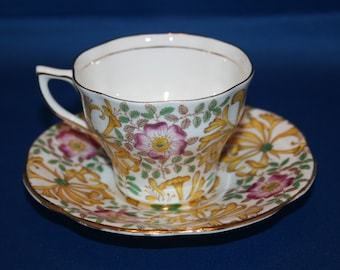Vintage Rosina Teacup & Saucer Hand Painted Bone China Floral tea cup made in England English Tea
