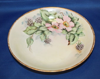 Antique Imperial Austria PSL Empire II Hand-Painted Bowl with Pink Flowers, Leaves & Black Berries 1914-1918 Vegetable Serving Bowl Dish
