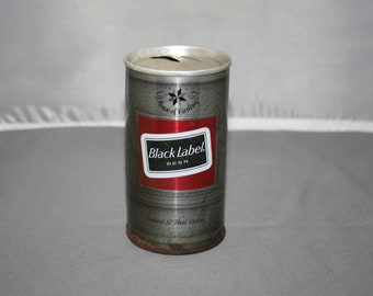 Vintage Carling Black Label Steel Can Pull Tab Opened & Empty Collectible Bar Memorabilia Barware Advertisement Breweriana