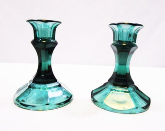 Vintage Emerald Green Candlesticks Holiday Candle Holders March Wedding, Christmas Decor  Teal Depression - Pressed Glass Candlestick