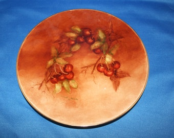Antique Hand Painted Cherry Branch Cabinet Plate Signed Jeanette Thurston dated '92 Cherries Dinner Plate Charger Art