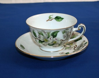 Vintage Rare Hira Geneva Teacup and Saucer White Dogwood Footed Tea Cup Fine China Made in Japan Japanese Garden Tea Party