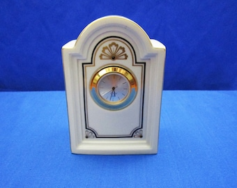 Vintage Lenox Brunswick Clock - Ivory Desk Clock - Mantle Clock - Quartz 24 jewel Bone China Made in the USA