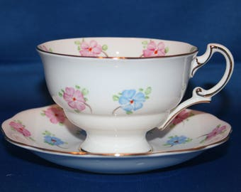Vintage English Floral Teacup & Saucer Made in England Porcelain Hand Painted Tea Cup English Tea Party