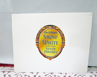 Vintage 2001 Disney Snow White Commemorative Lithographs, Set of 4, Disney Store Exclusive, Printed in USA Seven Dwarfs Doc Dopey