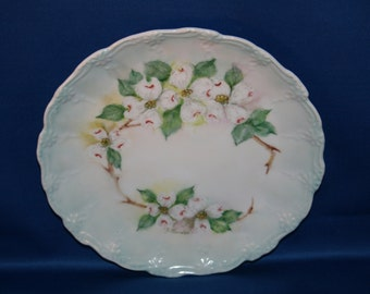 Antique Furstenberg Dogwood Plate Signed J Thurston Embossed Pale Green Hand Painted Charger German Cabinet Plate Dinner Plate Germany