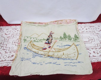 Vintage Indian Maiden in a Canoe Needlepoint Pillow Case Freehand Needlecraft Sac Cloth Pillow Cover Hand Made Native American Princess
