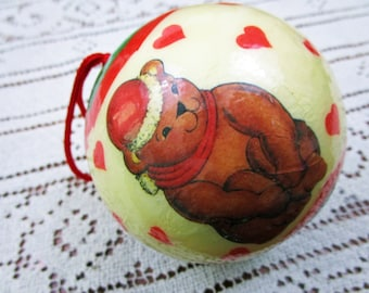 Vintage Decoupage Christmas Teddy Bear Holiday Ornament Holiday Christmas Tree Santa