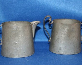 Antique Pewter Creamer & Sugar Bowl Queen City Silver Co Circa 1888 to 1910 Metalware Coffee Tea Cream Milk Shabby Chic Vintage Farm House