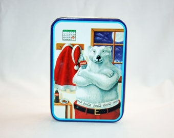 Vintage Coca-Cola Polar Bear Santa Christmas Tin Collector's Tin - Coca Cola Collectible Coke Memorabilia Ephemera Storage Box Tin 1996