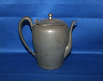 Vintage Pewter Coffee Pot Teapot Marked Genuine Pewter circa 1920's Coffee - Tea Pot Shabby Chic Metalware