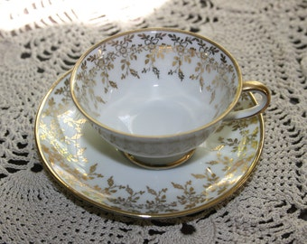 Vintage Oscar Schaller & Co Demitasse Teacup and Saucer White and Gold Tea Cup circa 1935 Bavaria Bone China Bavarian Tea Party