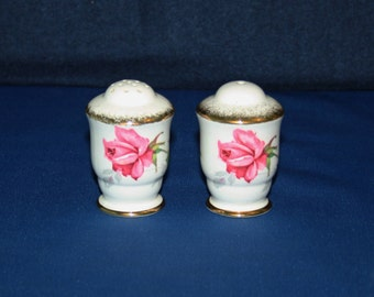 Vintage Royal Stafford Bone China Berkeley Rose Salt and Pepper Shaker Set Porcelain Shakers Knick Knacks English China