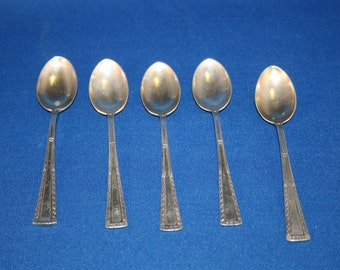 Antique Spoons Demitasse Dessert Spoon Set of 5 German 800 Silver marked WTB Wilhelm Binder Metalware Sugar Teaspoon