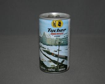 Vintage Tucher Ubersee Export Beer Steel Can Pull Tab Unopened & Empty Collectible Bar Memorabilia Barware Advertisement Breweriana