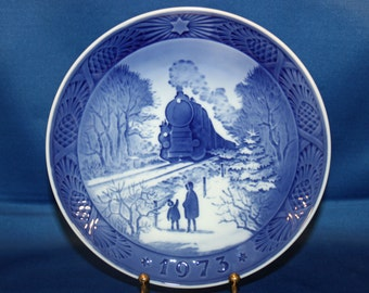 Vintage ROYAL COPEHAGEN Collectors Plate Going Home for Christmas Signed 1973 Cabinet Plate Holiday Train Blue and White Collector Plate