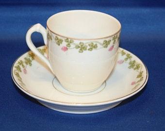 Antique Bassett Limoges Demitasse Teacup and Saucer Tea Cup Austria Bone China Porcelain Teacup