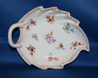 Antique Trinket Dish Dresden Hand Painted Floral Leaf Plate from the Richard Klemm Studio Vintage